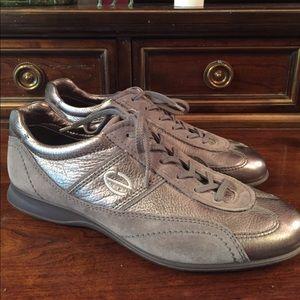 Ecco Silver Metallic Sneakers